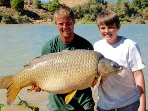 54,5lb carp for 13 year old!