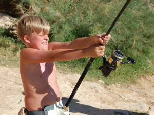 10 year old Danish boy catching big fish!